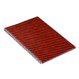 Black and Red Hazard Striped Notebook