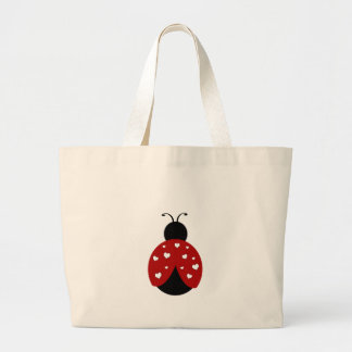 Black and Red Heart Ladybug Large Tote Bag