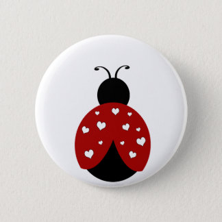 Black and Red Heart Ladybug Pinback Button