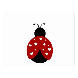 Black and Red Heart Ladybug Postcard