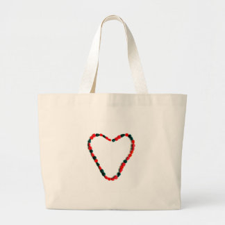 Black and Red Heart Large Tote Bag
