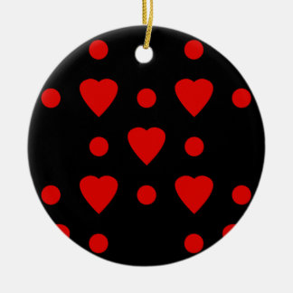 Black and Red heart pattern Ceramic Ornament