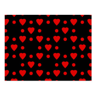 Black and Red heart pattern Postcard