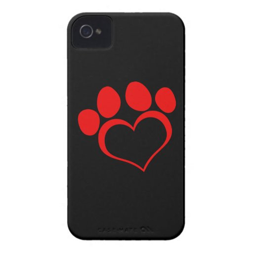 Black and Red Heart Paw Case-Mate iPhone 4 Cases