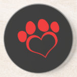 Black and Red Heart Paw Coaster