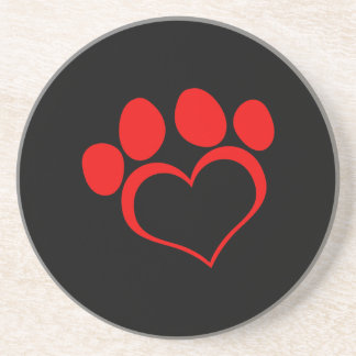 Black and Red Heart Paw Beverage Coaster