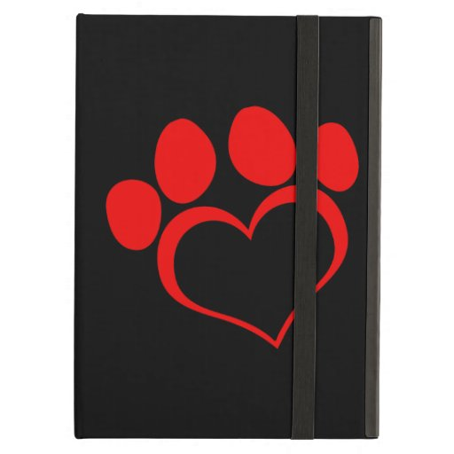 Black and Red Heart Paw iPad Covers