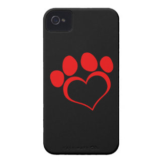 Black and Red Heart Paw iPhone 4 Cover