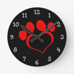 Black and Red Heart Paw Wall Clocks