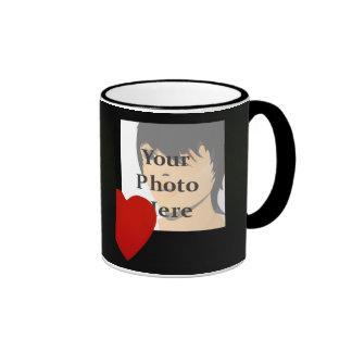 Black and Red Heart Photo Frame Mug