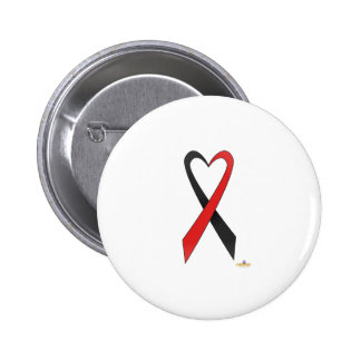 Black And Red Heart Shaped Awareness Ribbon Pinback Button