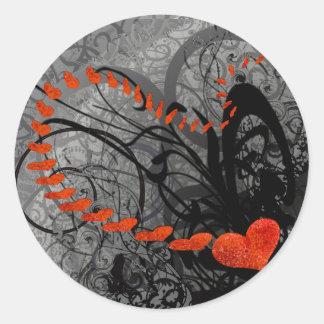 Black and Red Heart Swirls Sticker