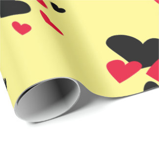 Black and Red Hearts Yellow Wrapping Paper