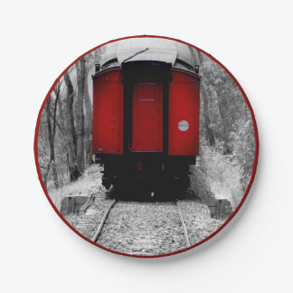 Black and Red Heritage Railroad Train 7 Inch Paper Plate
