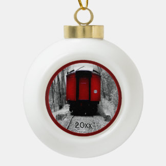 Black and Red Heritage Railroad Train Ceramic Ball Christmas Ornament