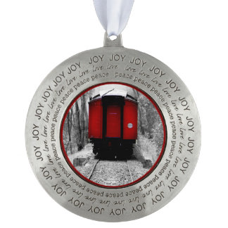 Black and Red Heritage Railroad Train Pewter Ornament