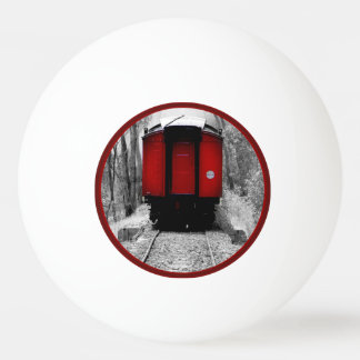Black and Red Heritage Railroad Train Ping-Pong Ball