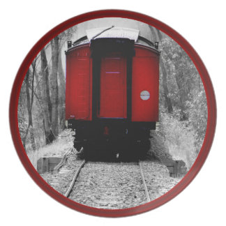 Black and Red Heritage Railroad Train Plate