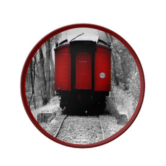 Black and Red Heritage Railroad Train Porcelain Plate