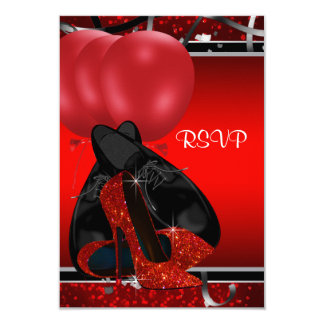 Black and Red High Heels Birthday Party RSVP Announcements