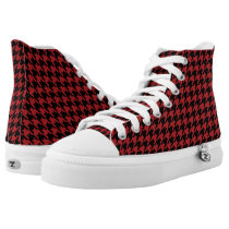 Black and Red Houndstooth High-Top Sneakers