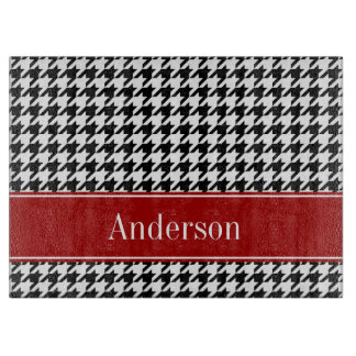 Black and Red Houndstooth Pattern Personalized Cutting Boards