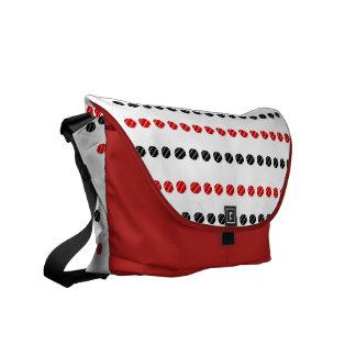 Black and Red Irregular Dots Messenger Bag