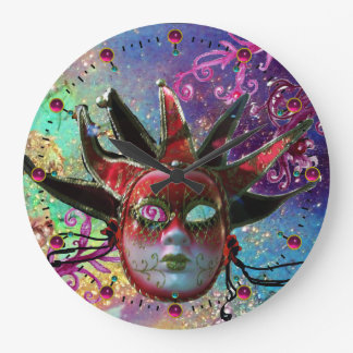 BLACK AND RED JESTER MASK Blue Masquerade Party Wall Clock