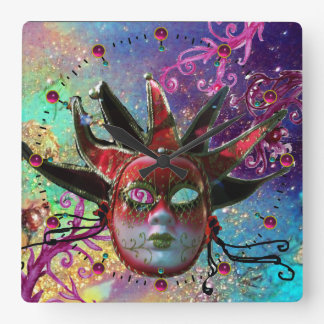 BLACK AND RED JESTER MASK Blue Masquerade Party Square Wallclock