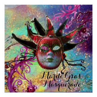 BLACK AND RED JESTER MASK IN BLUE Masquerade Party Poster