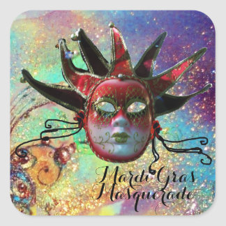 BLACK AND RED JESTER MASK IN BLUE Masquerade Party Square Sticker