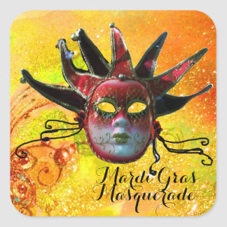 BLACK AND RED JESTER MASK IN YELLOW Masquerade Square Sticker