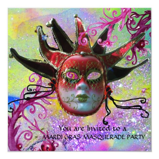 BLACK AND RED JESTER MASK , Masquerade Party Card