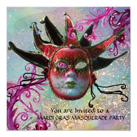 BLACK AND RED JESTER MASK , Masquerade Party Gold Card