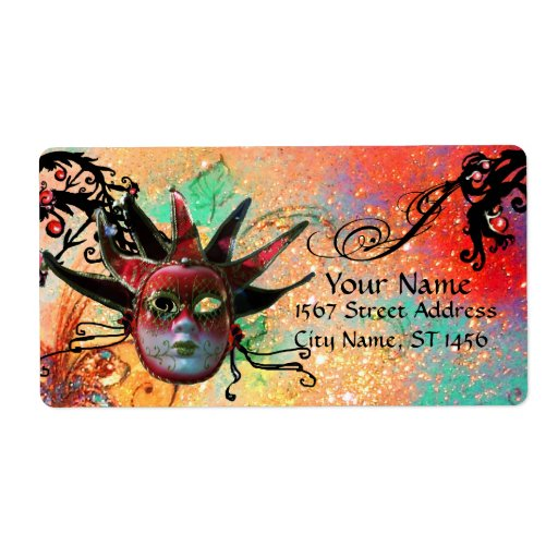 BLACK AND RED JESTER MASK , Masquerade Party green Label