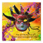 BLACK AND RED JESTER MASK , Masquerade Party Personalized Announcement