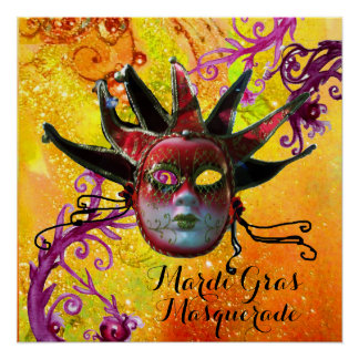 BLACK AND RED JESTER MASK , Masquerade Party Poster