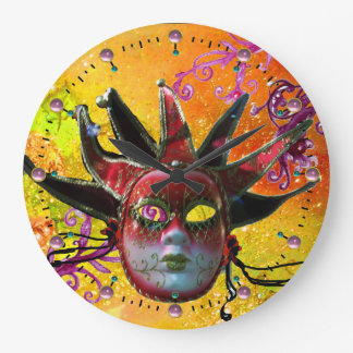 BLACK AND RED JESTER MASK  Masquerade Party Yellow Wall Clock