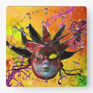 BLACK AND RED JESTER MASK  Masquerade Party Yellow Square Wall Clocks
