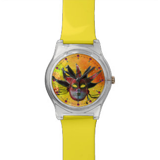 BLACK AND RED JESTER MASK  Masquerade Party Yellow Wrist Watch