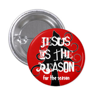 Black and Red Jesus is the Reason Christmas Pin