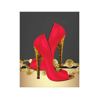 Black and Red Leopard High Heel Shoes Boutique Stretched Canvas Prints