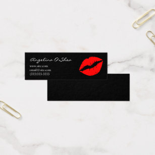 Lip shaped business cards templates zazzle black and red lipstick mini business card colourmoves Gallery