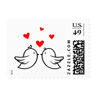 Black And Red Lovebirds And Hearts Wedding Postage