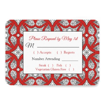 Wedding Themed Black and Red Mandala Wedding RSVP card