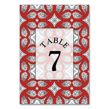 Wedding Themed Black and Red Mandala Wedding Table Number Card