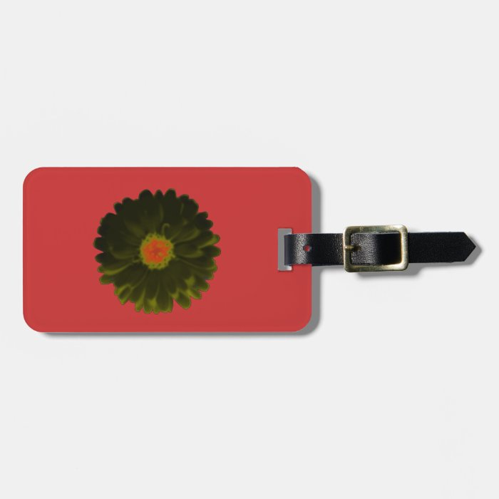 Black and Red Marigold Custom Luggage Tag