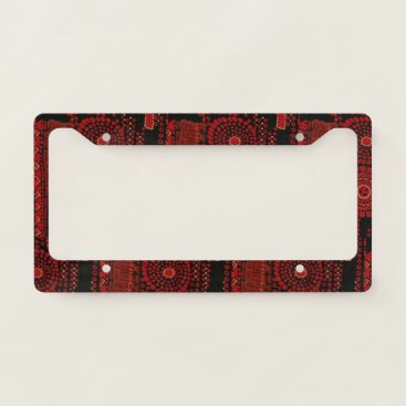 Aztec Themed Black and Red Moderne License Plate Frame