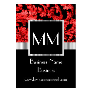 Black and red monogrammed damask large business cards (Pack of 100)