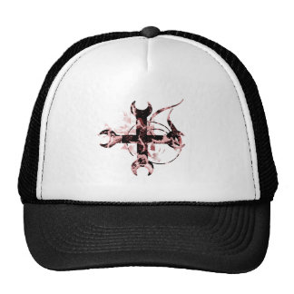 Black and Red Moon Cross Trucker Hat